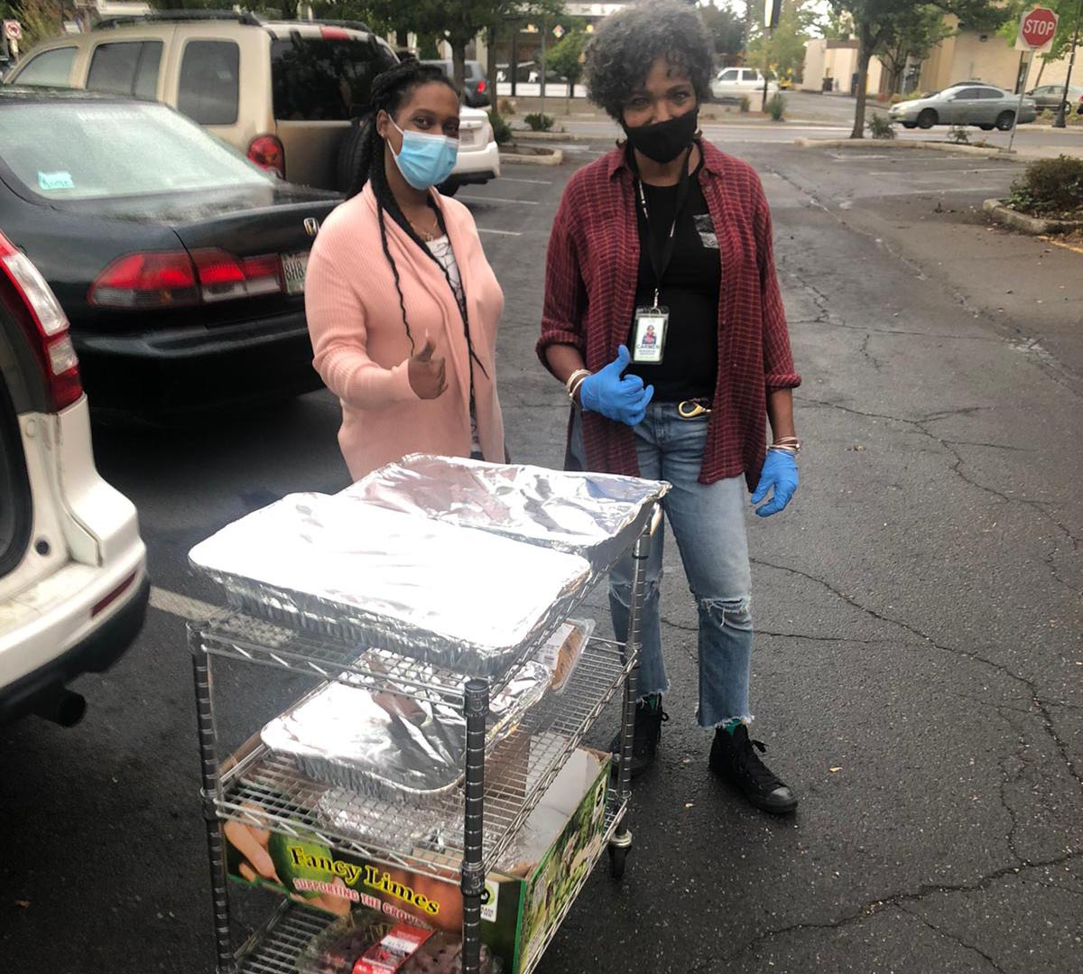 We deliver cooked food at the homeless shelter twice a month